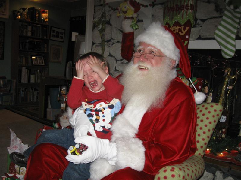 Crying Kid on Santas Knee